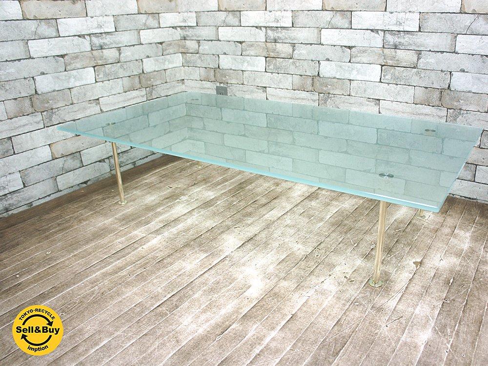 カッシーナ Cassina ixc. シルバートゥイグ SilverTwig ガラステーブル シルバー925メッキ脚 イタリアモダン ●