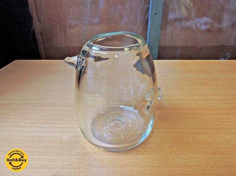 安土忠久 ガラス工芸作家 吹きガラス 花器 フラワーベース 飛騨 ■