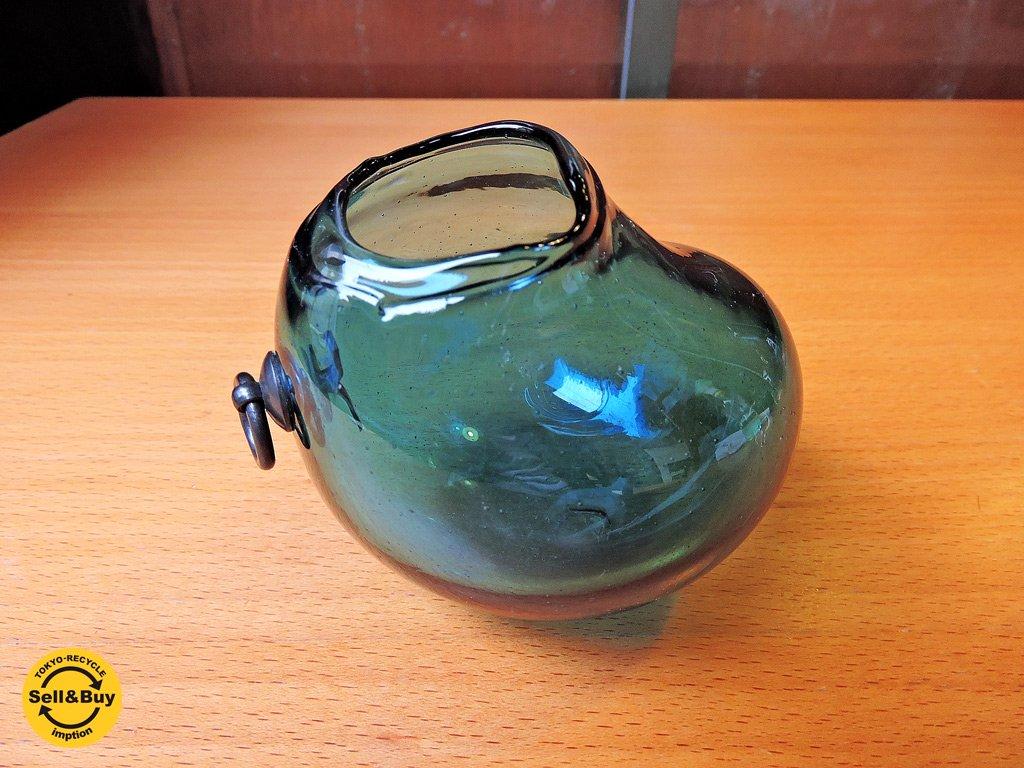 安土忠久 ガラス工芸作家 吹きガラス 花器 フラワーベース 飛騨 ブルー ■