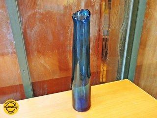 安土忠久 ガラス工芸作家 吹きガラス 花器 フラワーベース 飛騨 一輪挿し ■