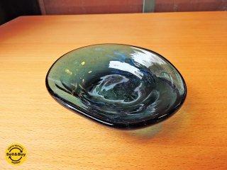 安土忠久 ガラス工芸作家 吹きガラス 花器 フラワーベース 飛騨 花皿 ■