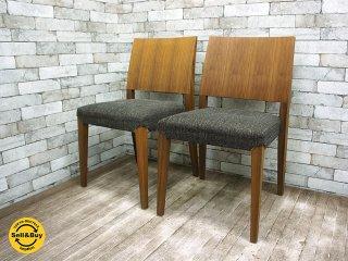 モーダ エン カーサ moda en casa レグノ legno chair ウォールナット ダイニングチェア 2脚セット 座面カバーリングタイプ A ●