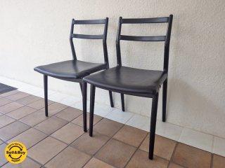 天童木工 TENDO インパラチェア 2脚セット (B) 本革張り 佐々木敏光デザイン 軽量椅子 ◇