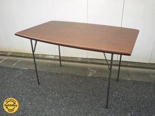 オリジナル リメイクテーブル オーク無垢材天板 x 無垢鉄脚 インダストリアル アイアンレッグ ブラウン ◎