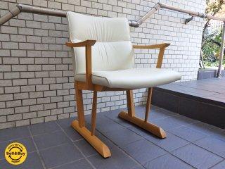 飛騨産業 キツツキ 円空 ダイニングチェア ナラ無垢材 椅子 A ■