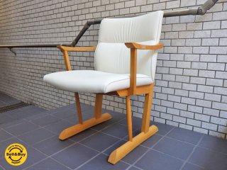 飛騨産業 キツツキ 円空 ダイニングチェア ナラ無垢材 椅子 B ■