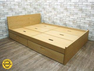 ウニコ unico ヒュッテ HUTTE ダブルサイズ ベッドフレーム オーク材 ナチュラルクラフト家具 ●