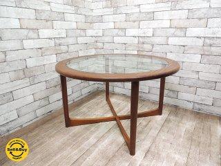 UKビンテージ McIntoshマッキントッシュ チーク材 ラウンド コーヒーテーブル ガラス イギリス 北欧スタイル ●