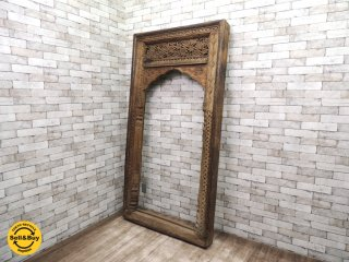 アンティーク インド製 ドアフレーム チーク無垢材 木彫り装飾 オブジェ 窓枠 ドア枠 内装 店舗什器 ●