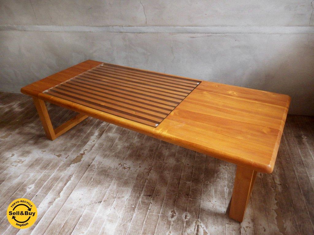 チーク無垢材 × ガラス天板 コーヒーテーブル センターテーブル  ♪