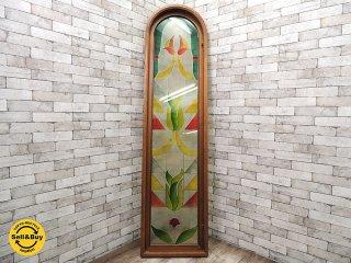 UKビンテージ ステンドグラス風窓枠 L 割れアリ パネル アーチ窓 陶器&真鍮製ハンドル付き ●