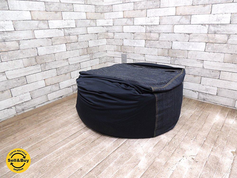 無印良品 MUJI ビーズクッション 体にフィットするソファ デニムカバーリングタイプ 65cmサイズ ○