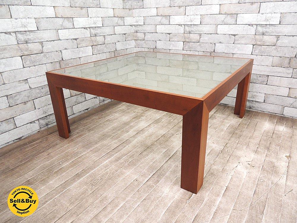ブランド不明 モダンデザイン チェリー材 x フロストガラス センターテーブル ローテーブル ●