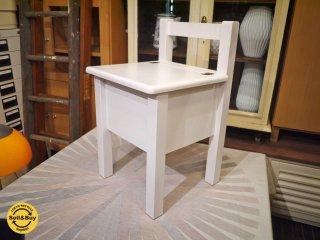 モモナチュラル Momo Natural チェア 椅子 収納付き パイン材ホワイト フレンチカントリー ◎