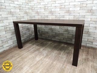 筑波産商 天然木 ダイニングテーブル モダンスタイル ウォールナットカラー 無垢集成材●