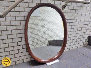 秋田木工 Akimoku ウォールミラー 鏡 大判型 古代色 柳宗理 デザイン 廃盤希少 ■
