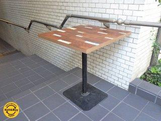 モザイク ペインテッド Mosaic Painted 鉄脚 x ウッド カフェテーブル ■