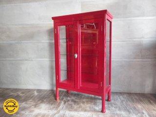 ペインテッド木製ガラスショーケース / ケビント ドクターラック ディスプレイラック ♪