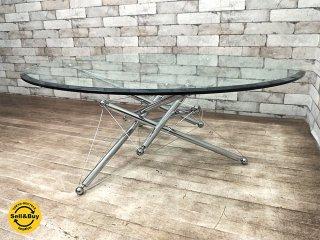 カッシーナイクスシー Cassina ixc 713 ローテーブル ガラス製天板 ラウンド型 テオドール・ワッデル デザイン 定価44万円 ●