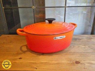 ルクルーゼ LE CREUSET ココットオーバル 27cm オレンジ 両手鍋 ■