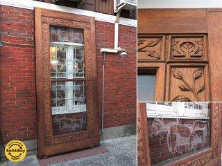 オランダの古い教会で使われていたアンティークの木製ドア 引き戸 飾り彫り ガラスサンドブラスト W138 x H298cm B ●