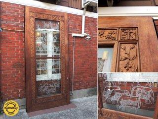 オランダの古い教会で使われていたアンティークの木製ドア 引き戸 飾り彫り ガラスサンドブラスト W138 x H298cm A ●