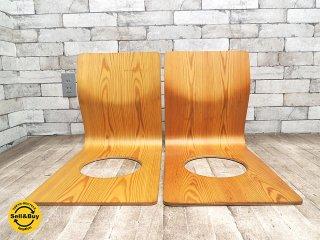 天童木工 TENDO 欅 座椅子 2脚セット プライウッド ビンテージ Xロゴ 藤森健次 B ●