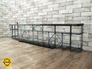 アンティーク 鉄製窓柵 古いアイアンフェンス ラティス 鉄格子 シャビーシック ペイント ブロカント ビンテージ ●