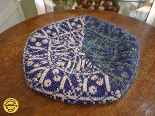新品 紀編物製作 ハンドメイド ニット編み工房 5枚はぎベレー帽 和柄 青みの紫◎