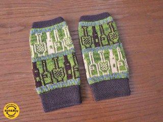 新品 紀編物製作 ハンドメイド ニット編み工房 指出し手袋 酒びん 緑 ■
