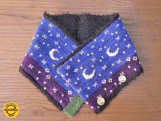 新品 紀編物製作 ハンドメイド ニット編み工房 ボタン付き襟巻 夜空 青x紫 ■