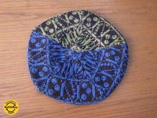 新品 紀編物製作 ハンドメイド ニット編み工房 5枚はぎベレー帽 和柄 黒 ■