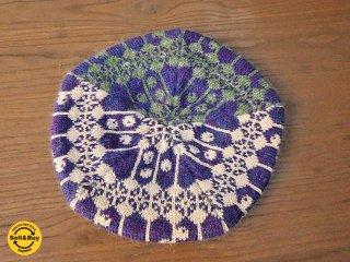 新品 紀編物製作 ハンドメイド ニット編み工房 5枚はぎベレー帽 木の実 青みの紫 ■