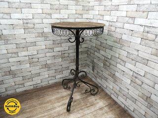 ビンテージ カウンター カフェテーブル ガーデン 屋外 シャビーシック ペンキの剥げた 天板 ロートアイアン ●