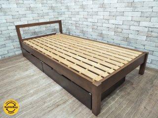 無印良品 MUJI バーチ材 シングルサイズ 木製ベッドフレーム ブラウン ベッド 引き出し収納付 ●