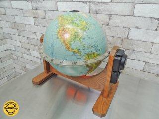 米国地球儀メーカーGeorge F. Cram Co. 地球儀 Sunlit World Globes of Seattle 1日1回転自転機能付き 昼夜自動切り替え  教材◎