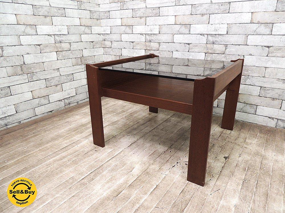 ビンテージ チーク材 × スモークガラス センターテーブル コーヒーテーブル 北欧スタイル ●