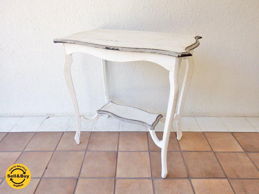 UK ヴィンテージ vintage シャビーシック カフェテーブル ホワイト ミニテーブル 英国 ◇