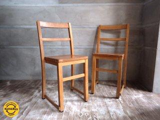 UK アンティーク スタッキング スクールチェア  2脚セット 英国 学習椅子 ♪