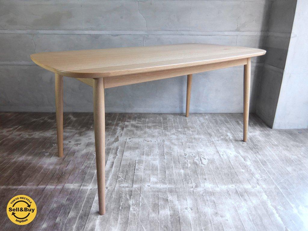無印良品 MUJI オーク材 ダイニングテーブル 丸脚 幅150cm 定価98000円 ♪