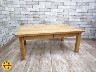 無印良品 MUJI タモ 無垢材 ローテーブル 引出し付き ●