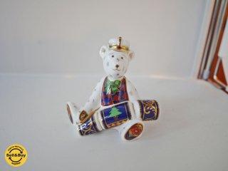 ロイヤルクラウンダービー Royal Crown Derby フィギュリン 置物 テディベア クリスマスクラッカー ◎