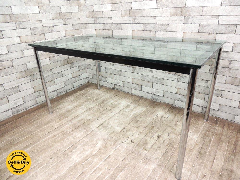 IDC 大塚家具購入 ル・コルビジェデザイン LC10 ダイニングテーブル 天板厚10mm ガラス天板 名作テーブル デザイナーズ家具 ●