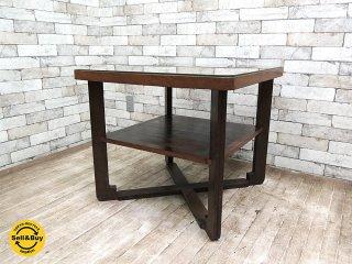 ジャパンビンテージ ガラストップ 木製 サイドテーブル ランプテーブル レトロ家具 アンティーク ブロカント ●