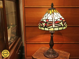 ステンドグラス シェード テーブルランプ 1灯 ティファニー アールヌーヴォー調 ドラゴンフライS 展示品 B◎