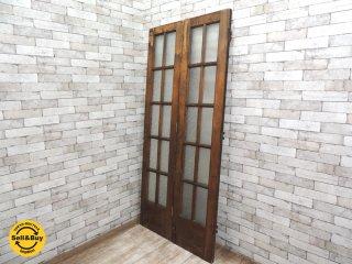 フランスアンティーク? 木製ドア 開き戸 中折ドア 2種ガラス W92 x H202cm ビンテージドア 古いドア ●
