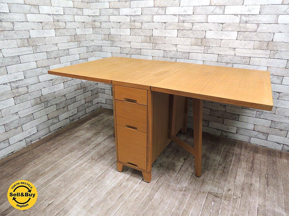 モダンデザイン タモ材 バタフライテーブル 伸長式テーブル ゲートレッグテーブル ナチュラルカラー ●