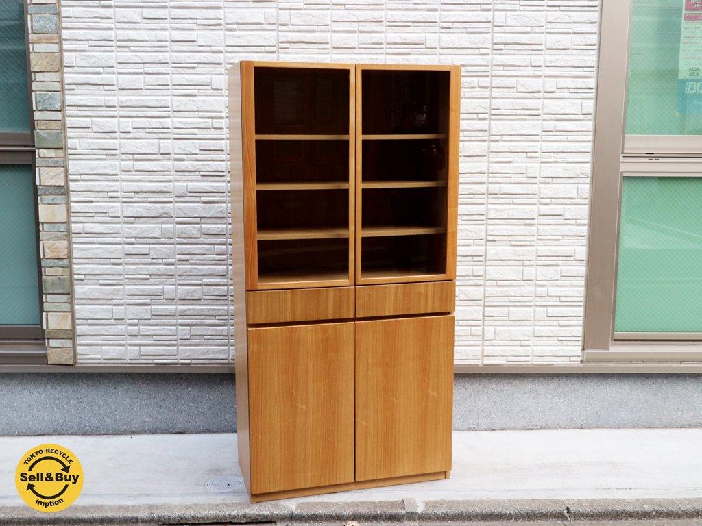 無印良品 MUJI 木製 カップボード タモ材 食器棚 キャビネット シンプル ナチュラル ◎
