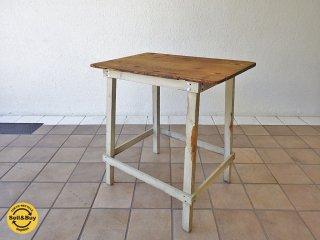 英国ビンテージ オールドパイン 古材 リメイク テーブル デスク 木味 シャビー&シック ブロカント ◇