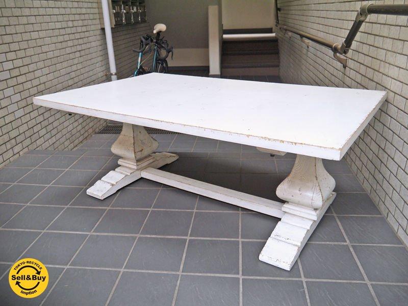アンティークスタイル シャビーシック コーヒーテーブル ホワイトペイント センターテーブル ■